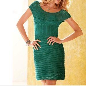 Victoria's Secret/Moda Int. Green Crochet Dress